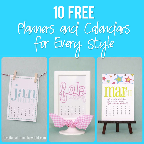 10 FREE Planners and Calendars for Every Style