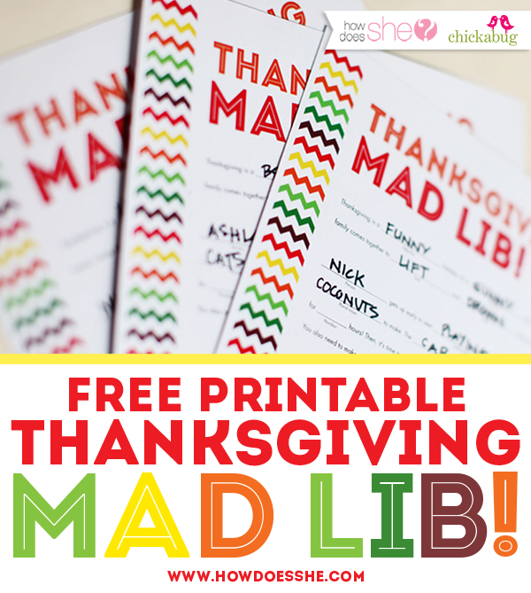 Free Printable Thanksgiving Mad Lib! Exclusively for newsletter subscribers at HowDoesShe.com