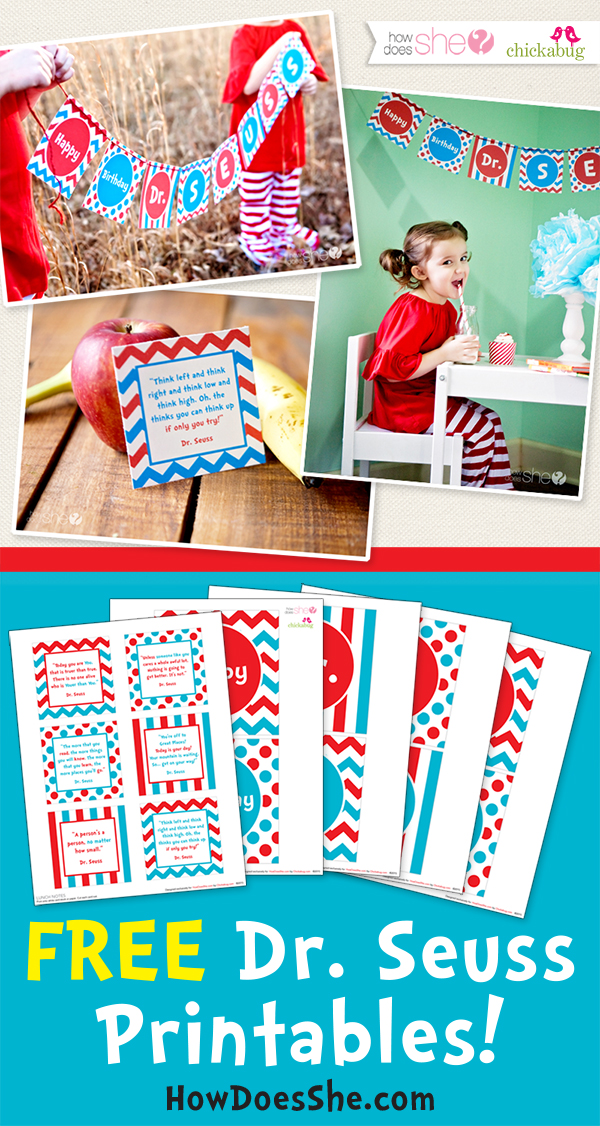 Free printables for Dr. Seuss Day! Happy birthday Dr. Seuss! - download at HowDoesShe.com @HowDoesShe