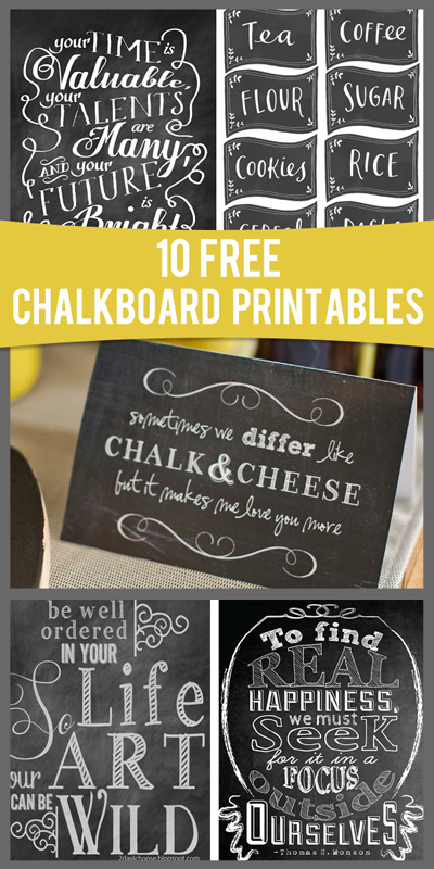 10 free chalkboard printables