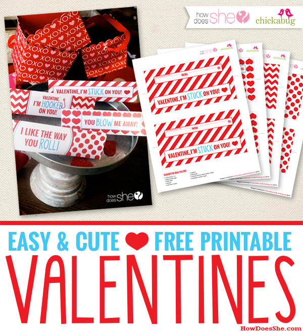 Free Printable Valentine's Day Bag Toppers! Exclusively for newsletter subscribers at HowDoesShe.com