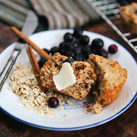 blueberry banana power muffins-featured image