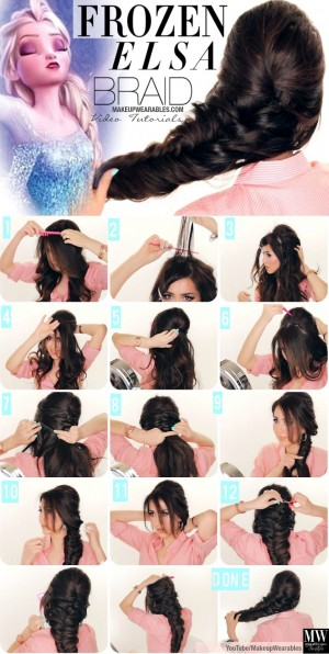 Step-by-step-fancy-French-fishtail-braid-tutorial-video-for-prom-wedding