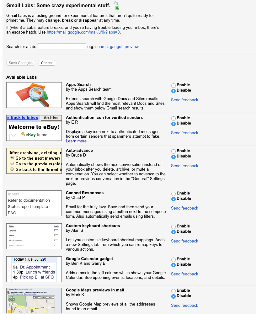 2. gmail labs