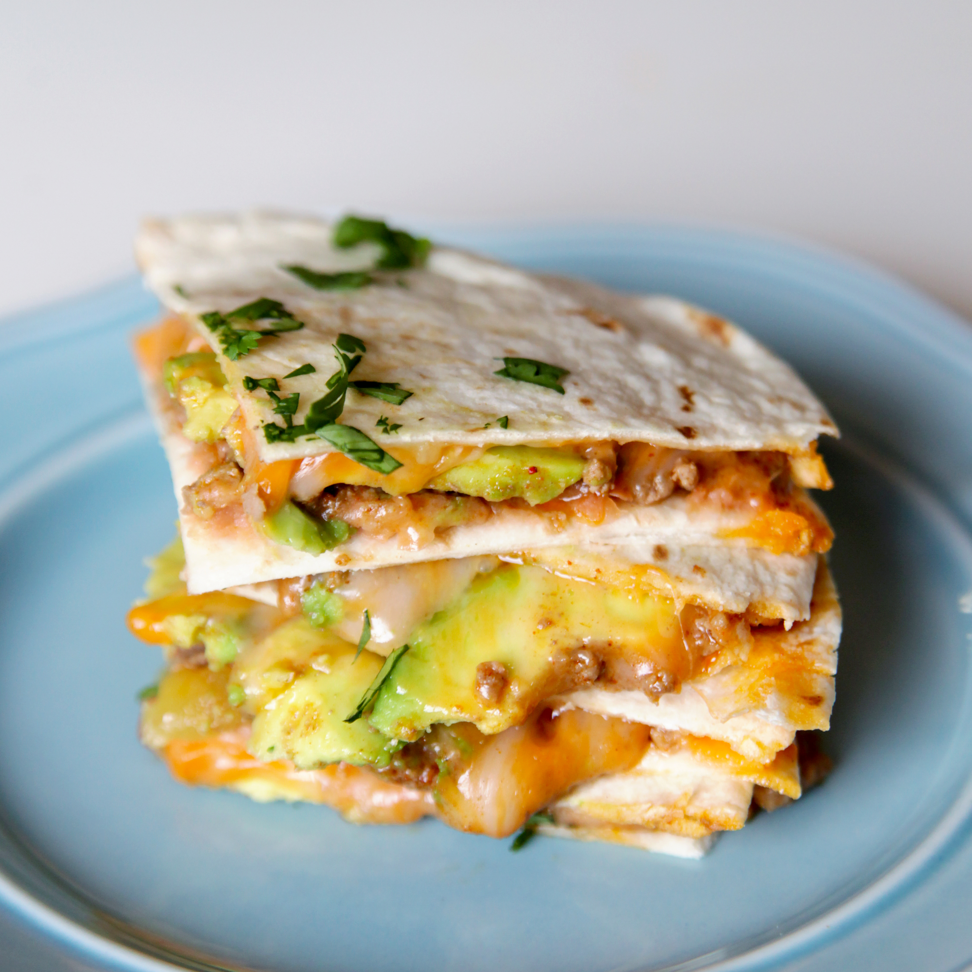 Cheesy Beef Quesadillas with Avocado (featured)