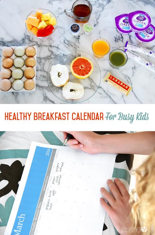 Healthy Breakfast Calendar for Busy Kids