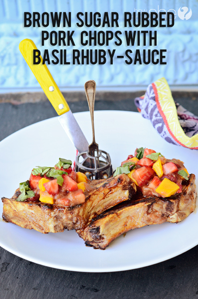Brown Sugar Rubbed Pork Chops with Balsamic, Basil Rhuby-sauce