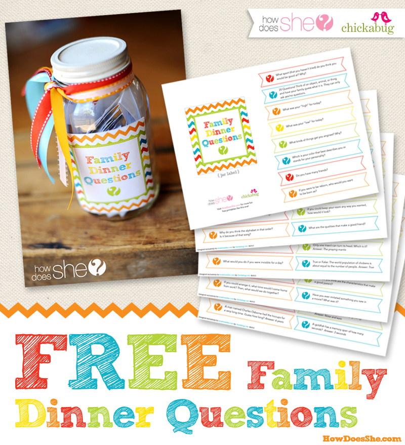Free printable family dinner questions from HowDoesShe
