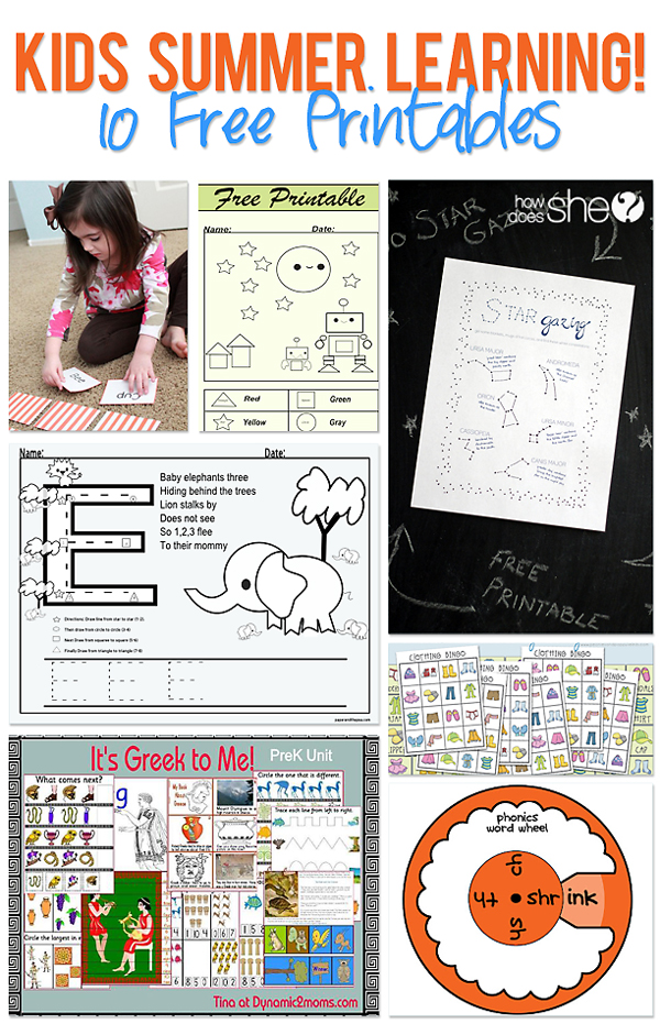 Kids summer learning printables collage copy