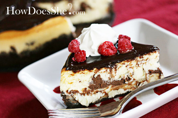 Vanilla and Chocolate Truffle Cheesecake