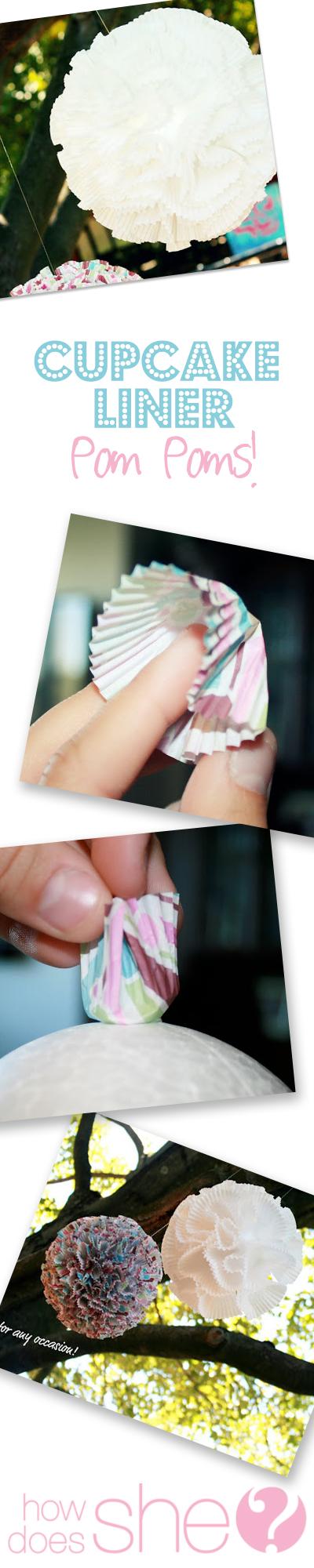 cupcake liner pom pom tutorial