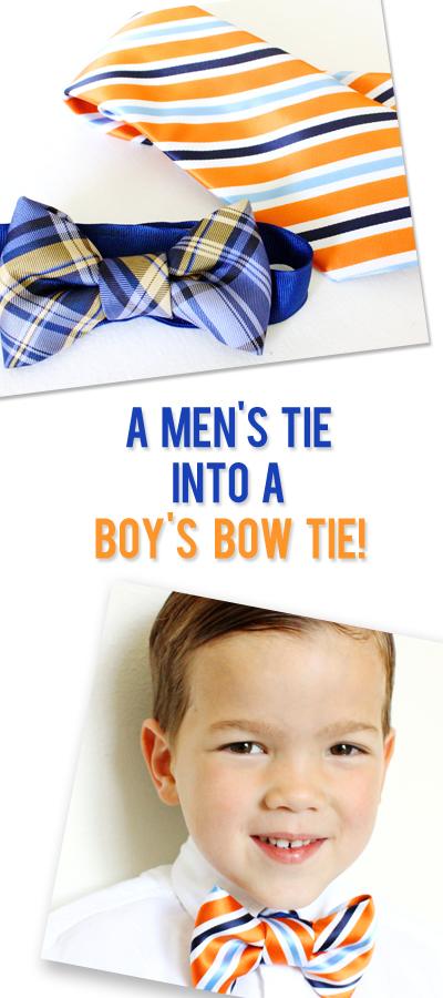 diy mens tie into a boys bow tie