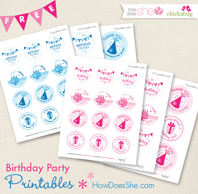 Free birthday party printables available at HowDoesShe.com