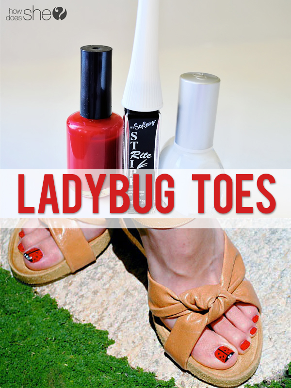 Adorable ladybug toe nail tutorial